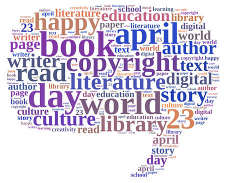 Illustration word cloud on world book day