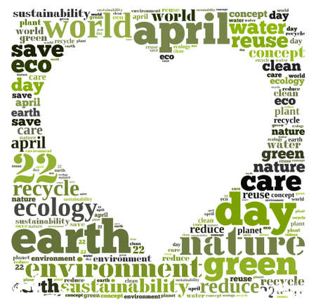 reduce reuse recycle: Illustration word cloud on earth day April 22.