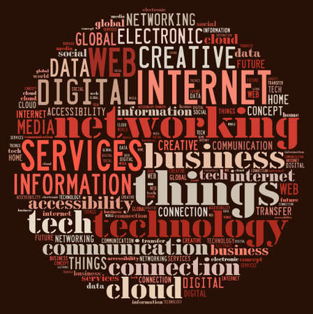 communication internet: Illustration word cloud on the internet of things Stock Photo