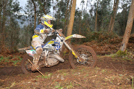 spain championship: VILLAVICIOSA, SPAIN - MARCH 22: The rider Javier Guerra on competition of Spain Championship Cross Country in March 22, 2015 in Villaviciosa, Spain.