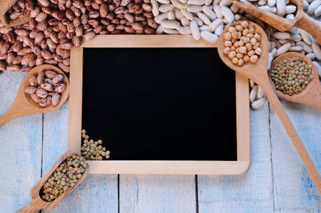space for writing: Lentils on a blackboard with space for writing