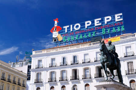 to pepe: MADRID, SPAIN - APRIL 02: The Iconic Tio Pepe sign (1935) of Gonzalez Byass Winery in its new emplacement in La Puerta del Sol square on April 02, 2015 in Madrid, Spain. Editorial