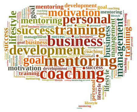 mentor: Illustration with word cloud, related to coaching.