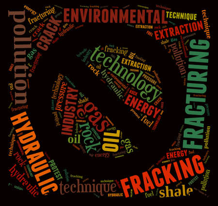 oil pollution: Illustration with word cloud, related to fracking. Stock Photo