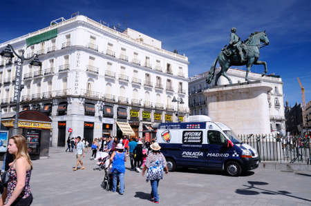 pickpocket: MADRID, SPAIN - APRIL 2: Vehicle of the municipal police in Madrid for the attention to citizens in the Puerta del Sol, ready to serve tourists during Holy Week in April 2, 2015 in Madrid, Spain.