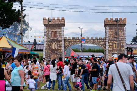 regional: LLANERA, SPAIN - JULY 5: Fairgrounds crowded in the celebration of the feast of regional tourist interest in The Exconxuraos in July 5 of 2014 in Llanera, Asturias