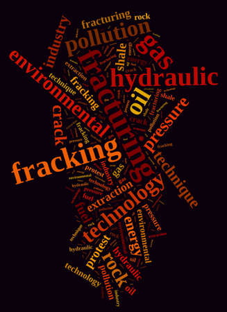 fracking: Illustration with word cloud, related to fracking. Stock Photo