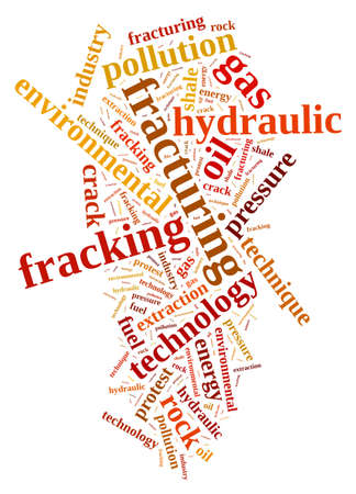 fracturing: Illustration with word cloud, related to fracking. Stock Photo