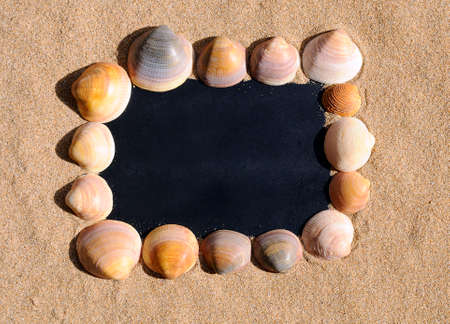 space for writing: Blackboard on beach sand with blank space for writing