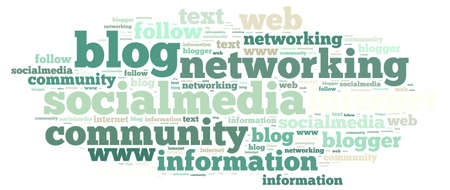 Illustration with word cloud on social media Stock Photo