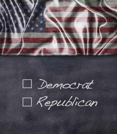 democrat: Democrat and Republican sign with vintage American flag Stock Photo