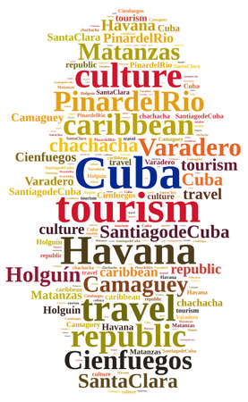 Word cloud about tourism on the island of Cuba. photo
