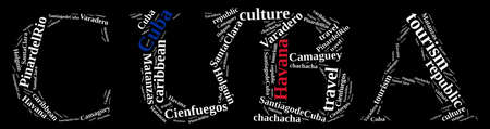 pinar: Word cloud about tourism on the island of Cuba. Stock Photo
