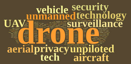 unmanned: Illustration with word cloud on drone, unmanned aerial vehicle.