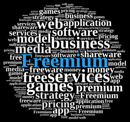 Illustration with word cloud on the Freemium system.