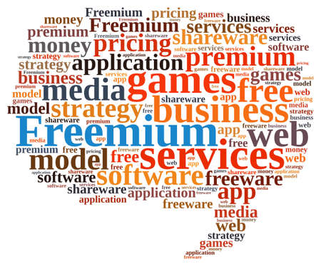 shareware: Illustration with word cloud on the Freemium system.