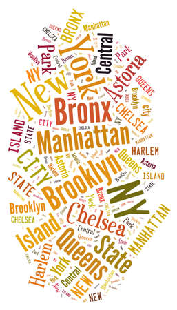 central park: Illustration with word cloud over the city of New York