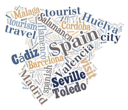 bilbao: Illustration with word cloud city tourism in Spain