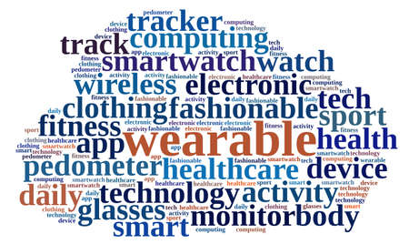 wearable: Illustration with word cloud on Wearable technology
