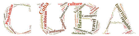 holguin: Word cloud about tourism on the island of Cuba. Stock Photo