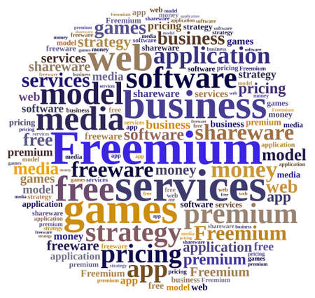 freeware: Illustration with word cloud on the Freemium system.