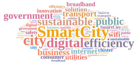 public project: Illustration with word cloud about smart city