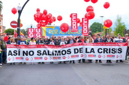 labor union: GIJON, SPAIN - MAY 1: Manifestation summoned by the UGT and CCOO labor unions to celebrate Labor Day in May 1, 2015 in Gijon.