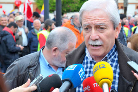 ugt: GIJON, SPAIN - MAY 1: Manifestation summoned by the UGT and CCOO labor unions to celebrate Labor Day in May 1, 2015 in Gijon.