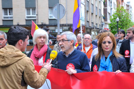 gaspar: GIJON, SPAIN - MAY 1: Manifestation summoned by the UGT and CCOO labor unions to celebrate Labor Day in May 1, 2015 in Gijon.