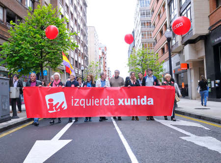 manifestation: GIJON, SPAIN - MAY 1: Manifestation summoned by the UGT and CCOO labor unions to celebrate Labor Day in May 1, 2015 in Gijon.