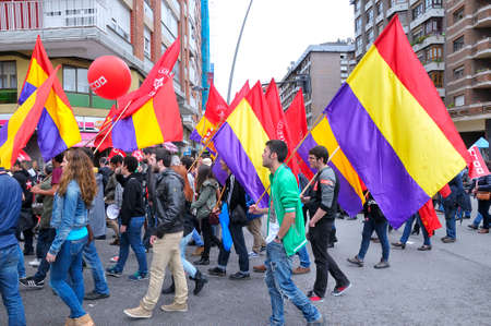 manifestation: GIJON SPAIN  MAY 1: Manifestation summoned by the UGT and CCOO labor unions to celebrate Labor Day in May 1 2015 in Gijon.