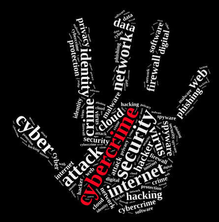 cybercrime: Word cloud illustration which deals with cybercrime. Stock Photo