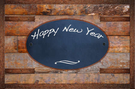 bulletin: Bulletin board made in wood with Happy New Year. Stock Photo