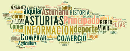 aviles: Tag cloud on tourism in Asturias, Spain.