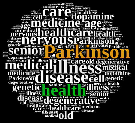 degenerative: Word cloud illustration on Parkinsons disease.