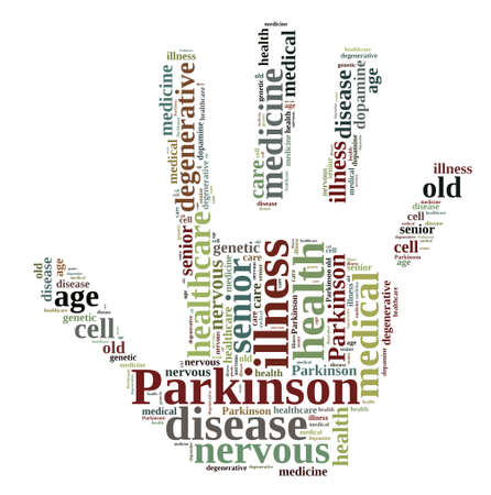 parkinson's: Word cloud illustration on Parkinsons disease.