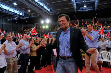 socialist: GIJON SPAIN  MAY 8: Rally of the Spanish Socialist Workers Party PSOE in May 8 2015 in Gijon Spain. Javier Fernndez President of the Principality of Asturias and candidate of PSOE Spanish Socialist Workers Party for Asturian Parliamentary Election 2015