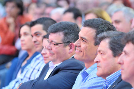 socialist: GIJON SPAIN  MAY 8: Rally of the Spanish Socialist Workers Party PSOE in May 8 2015 in Gijon Spain. Pedro Sanchez secretary general of the Spanish Socialist Workers Party PSOE and Javier Fernndez candidate of PSOE for Asturias.