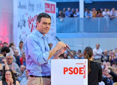 addresses: GIJON SPAIN  MAY 8: Rally of the Spanish Socialist Workers Party PSOE in May 8 2015 in Gijon Spain. Pedro Sanchez General secretary of the Spanish Socialist Workers Party PSOE addresses the audience