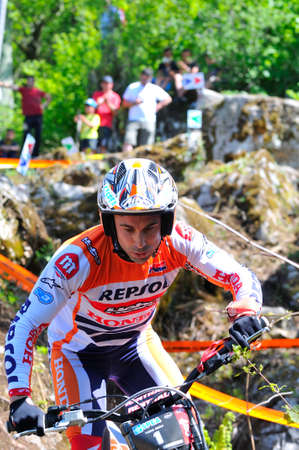 spain championship: EL Condao, SPAIN - MAY 10: Trial Spain Championship on May 10, 2015 in El Condao, Spain. Toni Bou, 2th in the race held in Asturias.