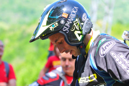 spain championship: EL Condao, SPAIN - MAY 10: Trial Spain Championship on May 10, 2015 in El Condao, Spain. Albert Cabestany, Sherco rider.