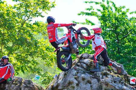 spain championship: EL Condao, SPAIN - MAY 10: Trial Spain Championship on May 10, 2015 in El Condao, Spain. Moment when Oriol Noguera jump over granite rocks. Editorial