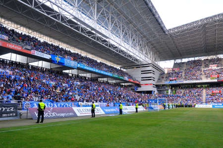 carlos: OVIEDO SPAIN  MAY 10: Football match between Real Oviedo and Somozas in the Carlos Tartiere stadium in May 10 2015 in Oviedo Spain.