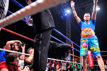 OVIEDO, SPAIN - MAY 16: Aitor Nieto of Spain beat Estonian Pavel Mamontov by decision to win the European IBF and USBA welterweight championship in May 16, 2015 in Oviedo, Spain. Aitor El Diamante Nieto, proclaims European champion IBF welterweight.