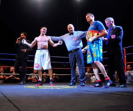 proclaimed: OVIEDO, SPAIN - MAY 16: Aitor Nieto of Spain beat Estonian Pavel Mamontov by decision to win the European IBF and USBA welterweight championship in May 16, 2015 in Oviedo, Spain. Aitor Nieto proclaimed winner of the European IBFUSBA welterweight Champion