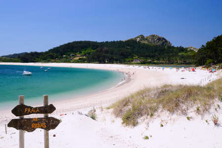 beaches of spain: Cies Islands, National Park Maritime-Terrestrial of the Atlantic Islands of Galicia in Spain. Stock Photo