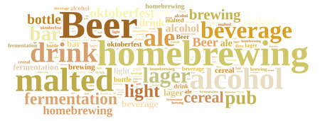 malted: Illustration with word cloud on homebrewing beer