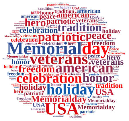 peace day: Illustration with word cloud about Memorial day. Stock Photo