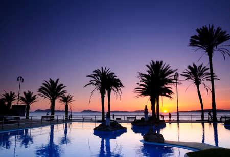 beaches of spain: Sunset on the beach of Samil in Vigo Spain.