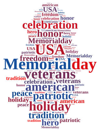 memorial day: Illustration with word cloud about Memorial day. Stock Photo